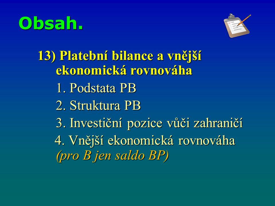 Obsah. 13) Platební bilance a vnější ekonomická rovnováha