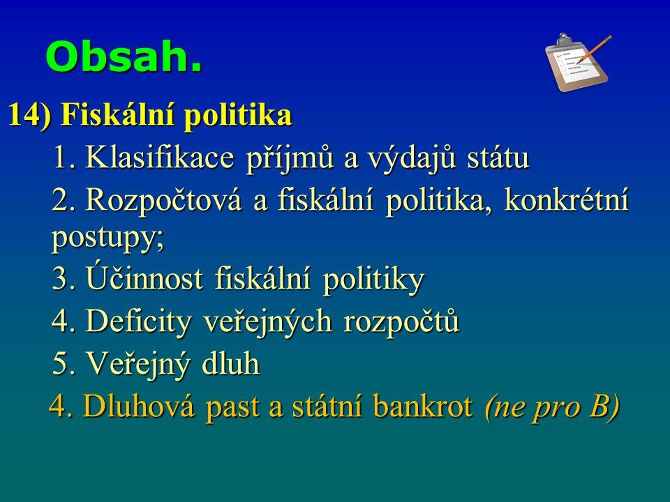 Obsah. 14) Fiskální politika 1. Klasifikace příjmů a výdajů státu