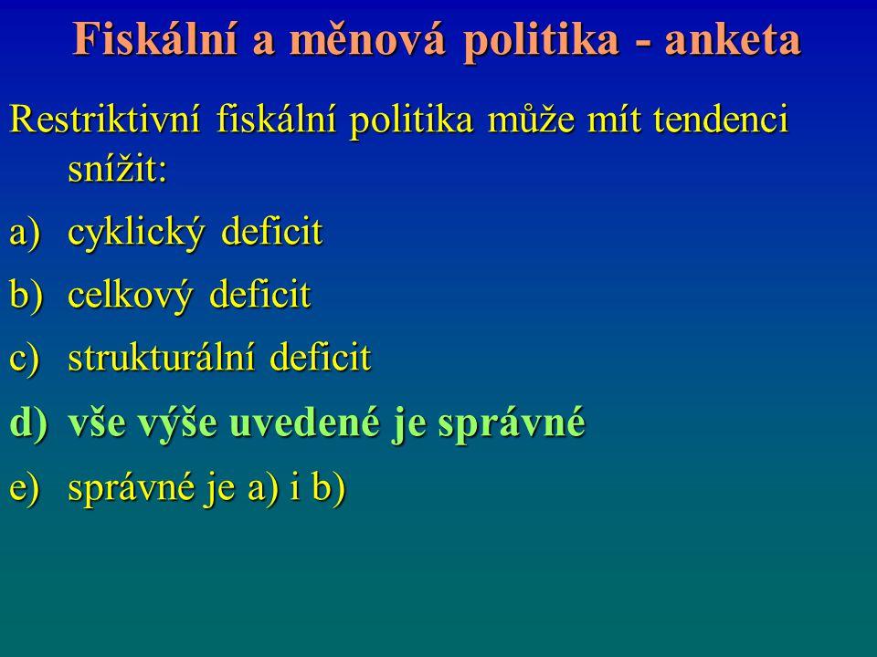 Fiskální a měnová politika - anketa