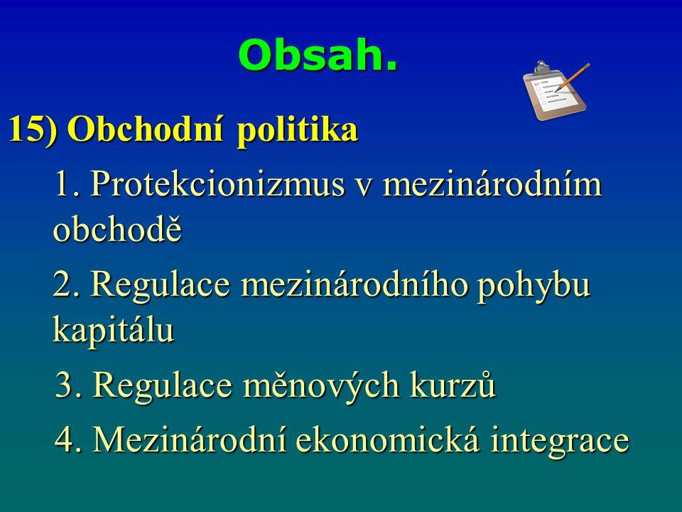 Obsah. 15) Obchodní politika 1. Protekcionizmus v mezinárodním obchodě