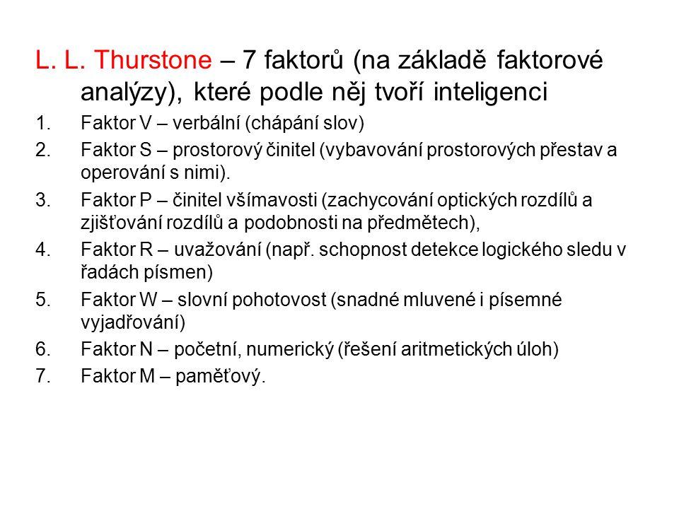 L. L. Thurstone – 7 faktorů (na základě faktorové analýzy), které podle něj tvoří inteligenci