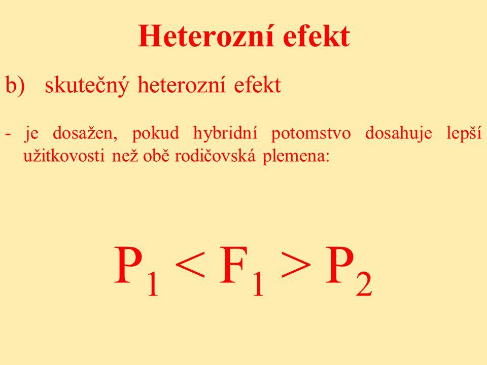 P1 < F1 > P2 Heterozní efekt b) skutečný heterozní efekt