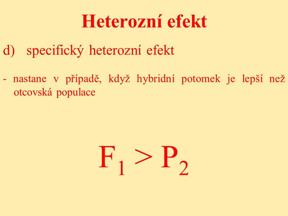 F1 > P2 Heterozní efekt d) specifický heterozní efekt