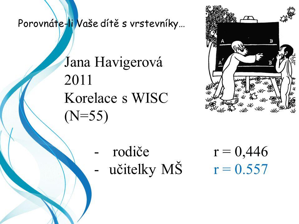 Jana Havigerová 2011 Korelace s WISC (N=55) rodiče r = 0,446
