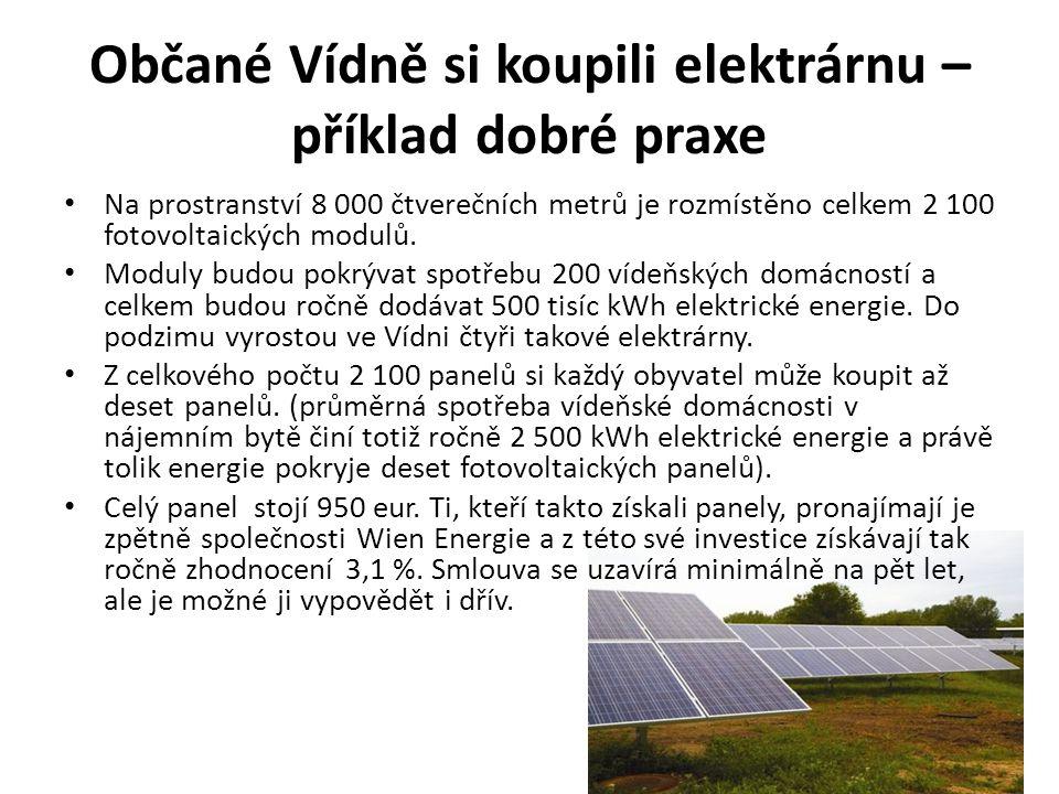 Občané Vídně si koupili elektrárnu – příklad dobré praxe