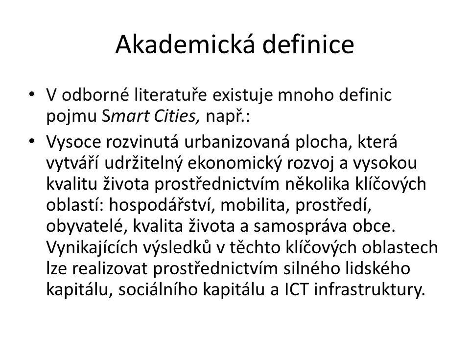 Akademická definice V odborné literatuře existuje mnoho definic pojmu Smart Cities, např.: