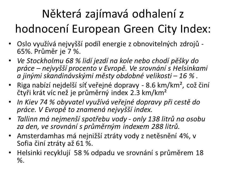 Některá zajímavá odhalení z hodnocení European Green City Index: