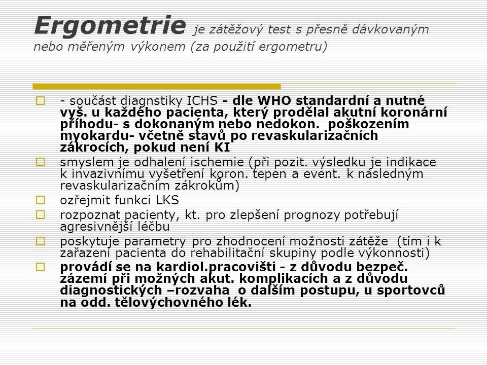 Ergometrie je zátěžový test s přesně dávkovaným nebo měřeným výkonem (za použití ergometru)