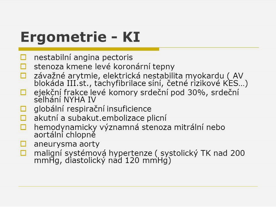 Ergometrie - KI nestabilní angina pectoris