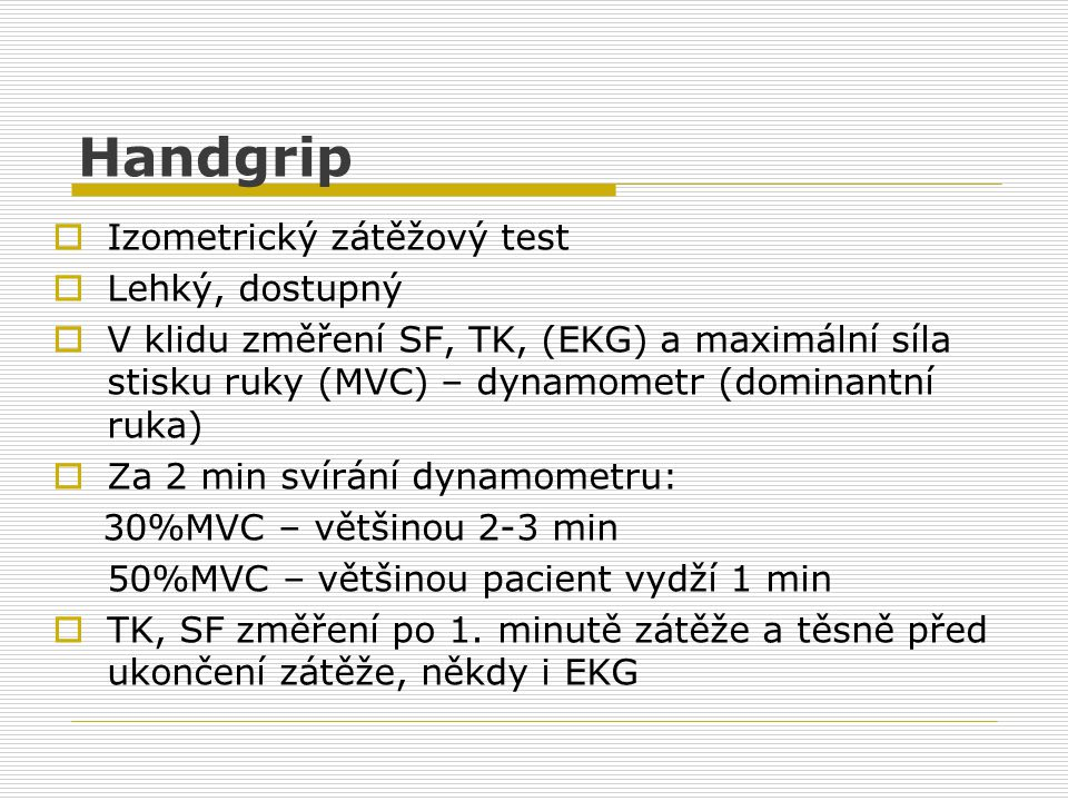 Handgrip Izometrický zátěžový test Lehký, dostupný
