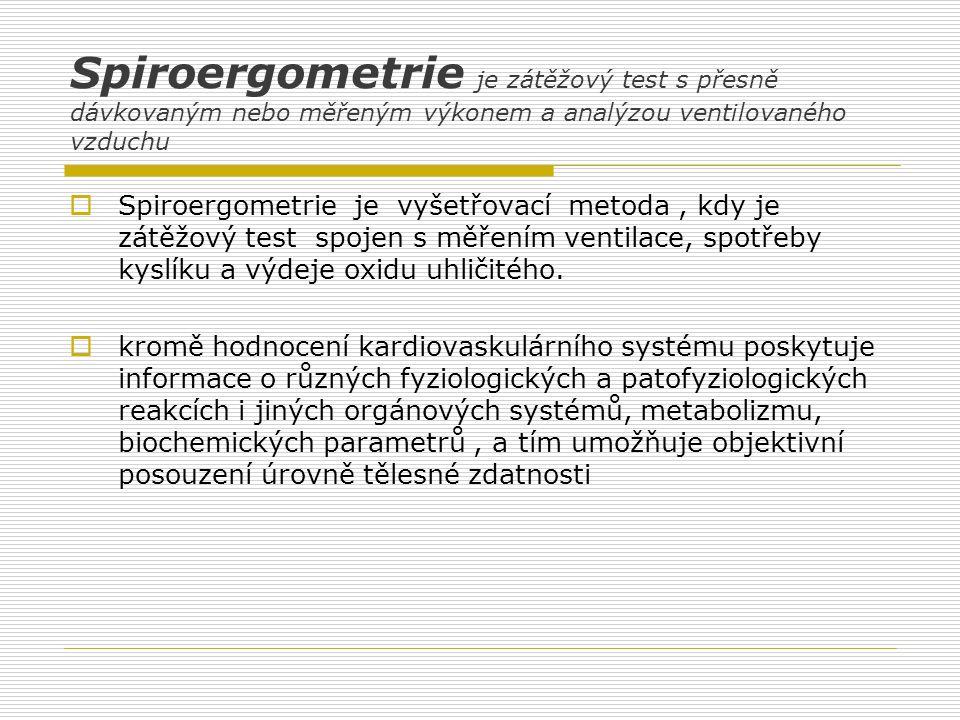 Spiroergometrie je zátěžový test s přesně dávkovaným nebo měřeným výkonem a analýzou ventilovaného vzduchu