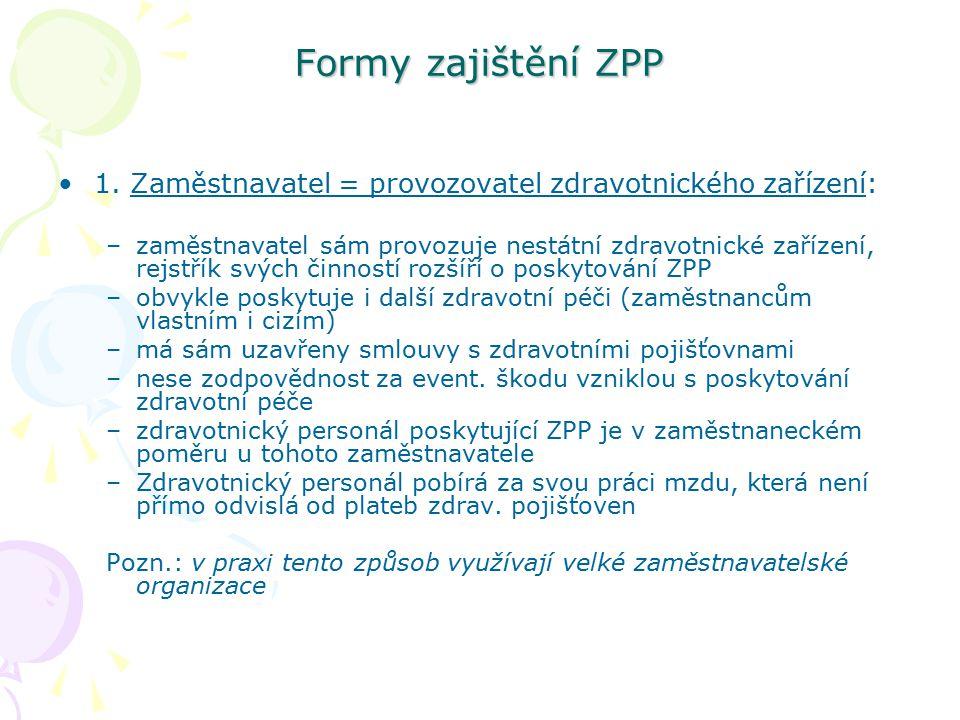 Formy zajištění ZPP 1. Zaměstnavatel = provozovatel zdravotnického zařízení: