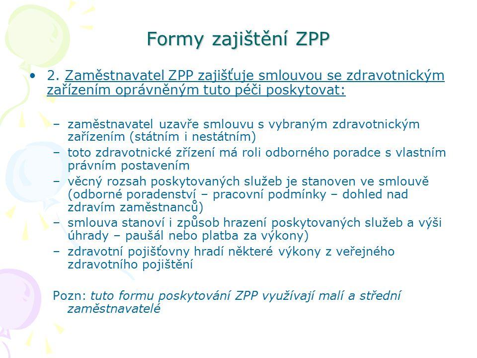 Formy zajištění ZPP 2. Zaměstnavatel ZPP zajišťuje smlouvou se zdravotnickým zařízením oprávněným tuto péči poskytovat: