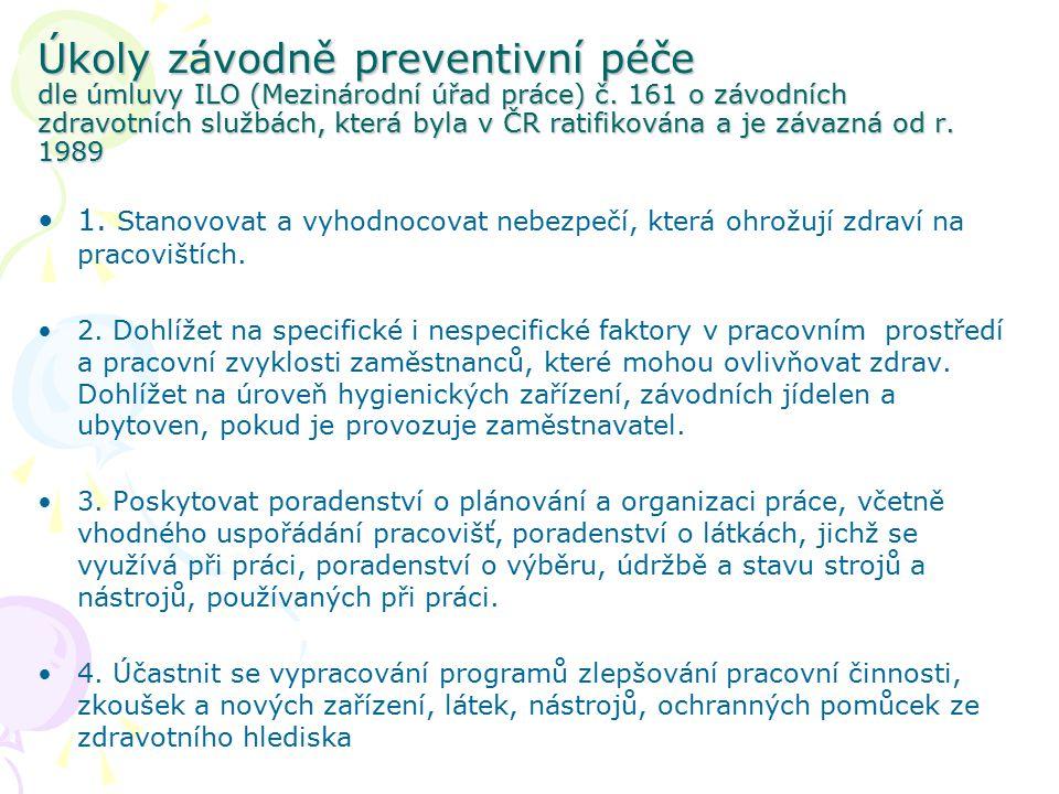 Úkoly závodně preventivní péče dle úmluvy ILO (Mezinárodní úřad práce) č. 161 o závodních zdravotních službách, která byla v ČR ratifikována a je závazná od r. 1989
