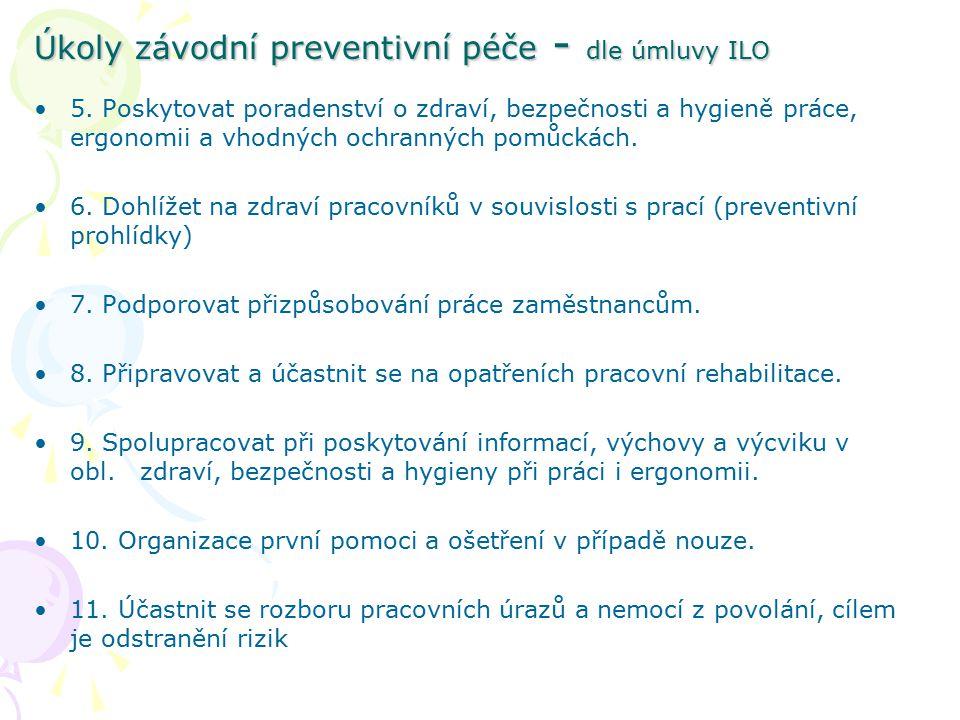 Úkoly závodní preventivní péče - dle úmluvy ILO