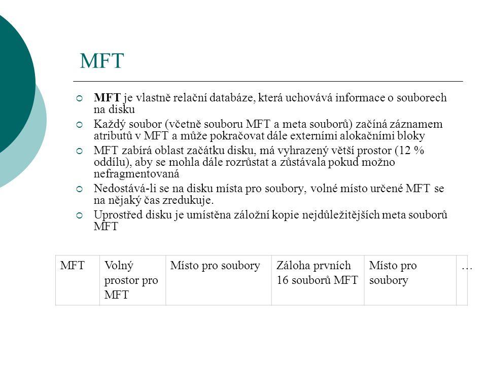 MFT MFT je vlastně relační databáze, která uchovává informace o souborech na disku.