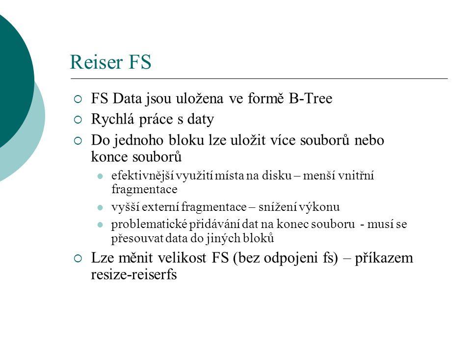 Reiser FS FS Data jsou uložena ve formě B-Tree Rychlá práce s daty