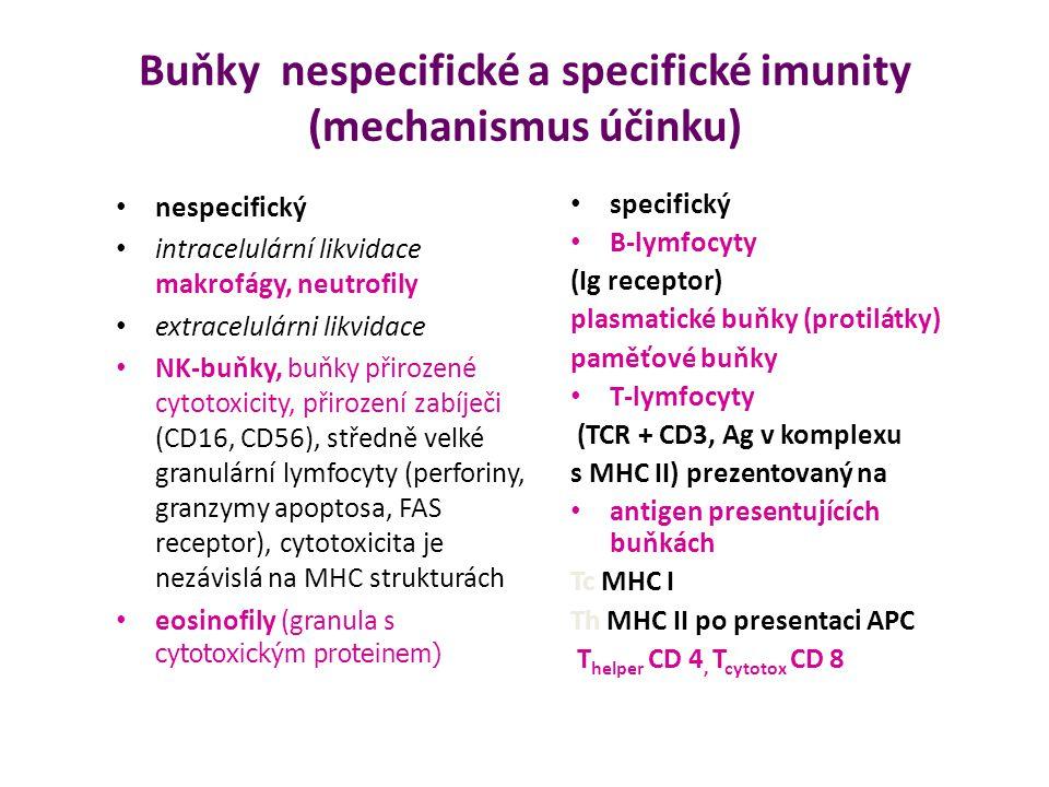 Buňky nespecifické a specifické imunity (mechanismus účinku)