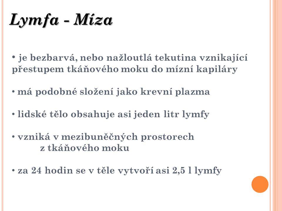 Lymfa - Míza je bezbarvá, nebo nažloutlá tekutina vznikající přestupem tkáňového moku do mízní kapiláry.