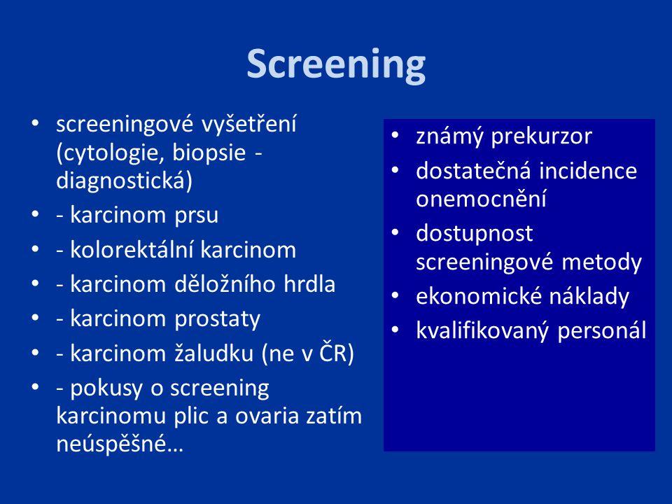 Screening screeningové vyšetření (cytologie, biopsie - diagnostická)