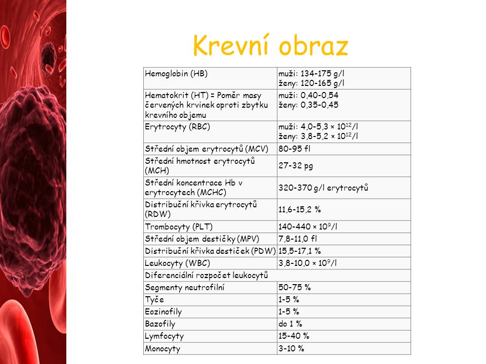 Krevní obraz Hemoglobin (HB) muži: 134-175 g/l ženy: 120-165 g/l