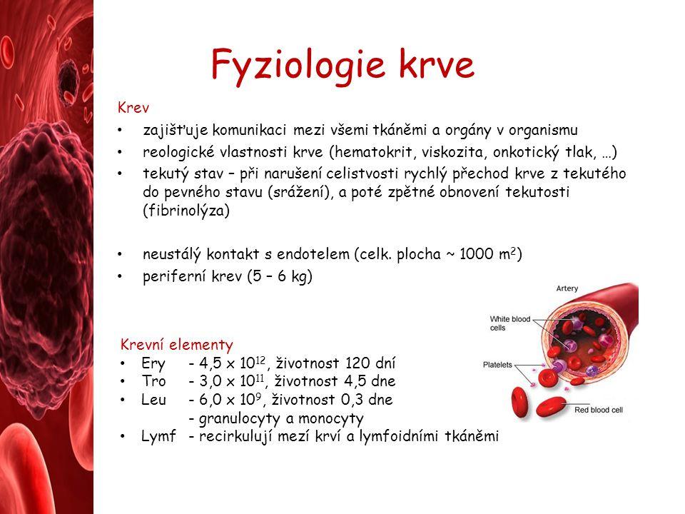 Fyziologie krve Krev. zajišťuje komunikaci mezi všemi tkáněmi a orgány v organismu.