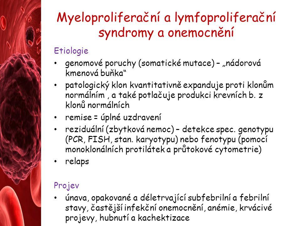 Myeloproliferační a lymfoproliferační syndromy a onemocnění