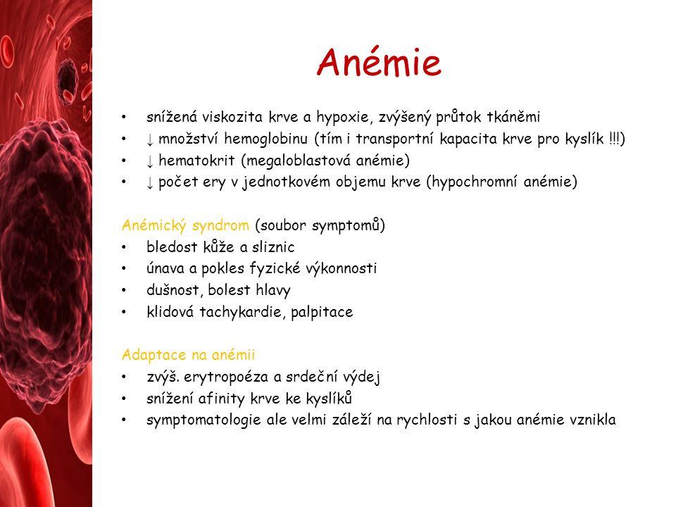 Anémie snížená viskozita krve a hypoxie, zvýšený průtok tkáněmi