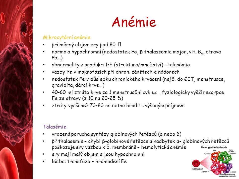 Anémie Mikrocytární anémie průměrný objem ery pod 80 fl