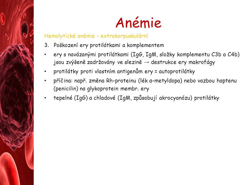 Anémie Hemolytické anémie - extrakorpuskulární