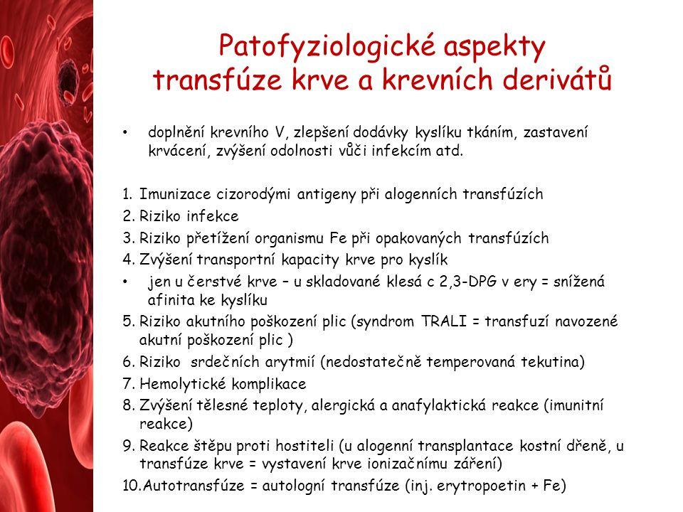 Patofyziologické aspekty transfúze krve a krevních derivátů