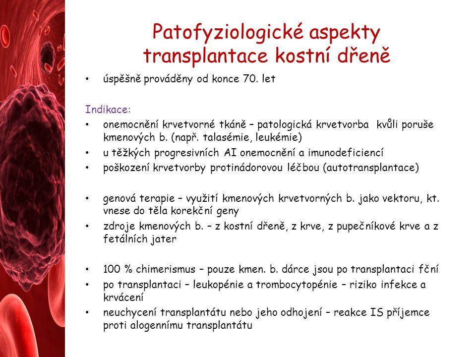 Patofyziologické aspekty transplantace kostní dřeně