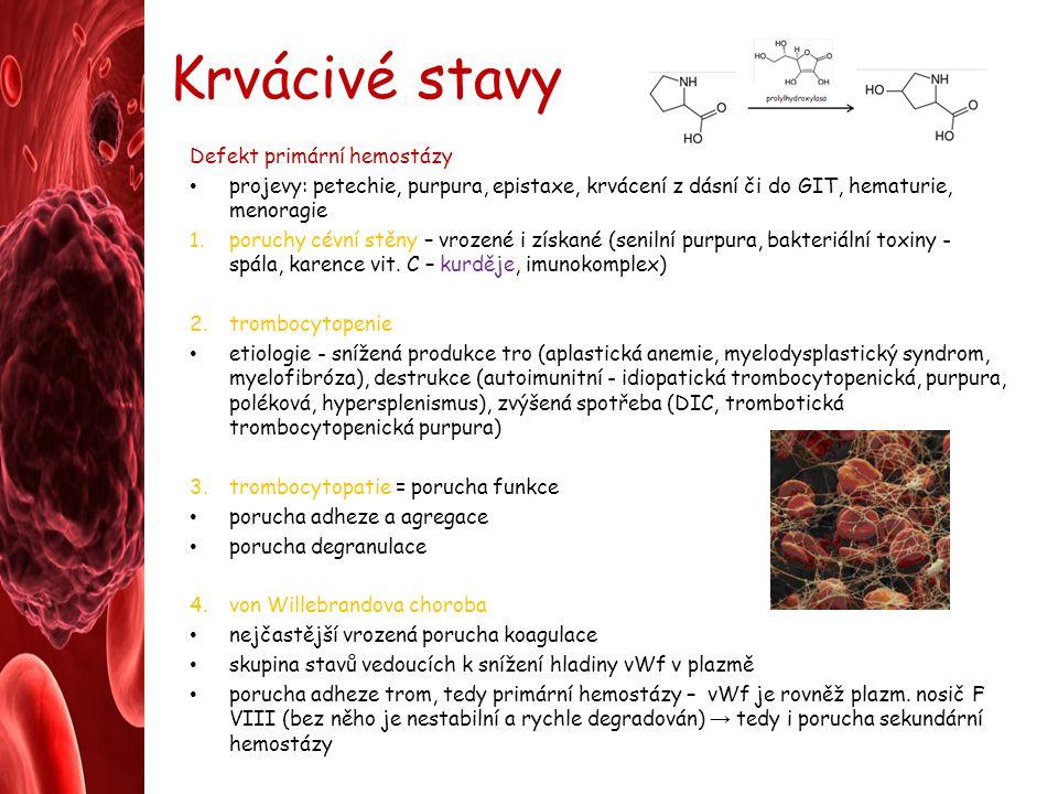 Krvácivé stavy Defekt primární hemostázy