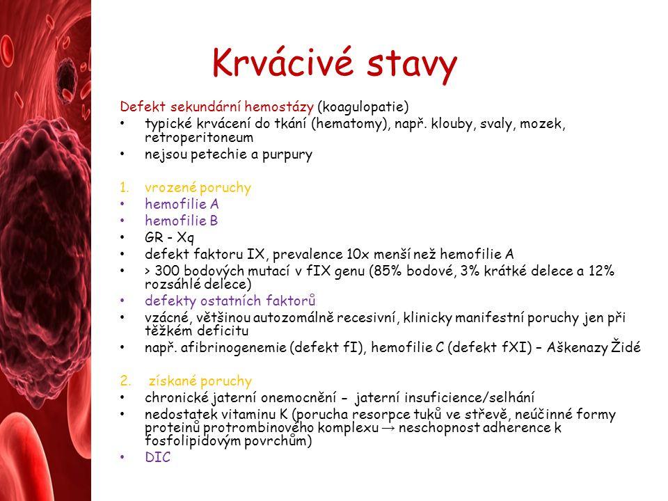 Krvácivé stavy Defekt sekundární hemostázy (koagulopatie)