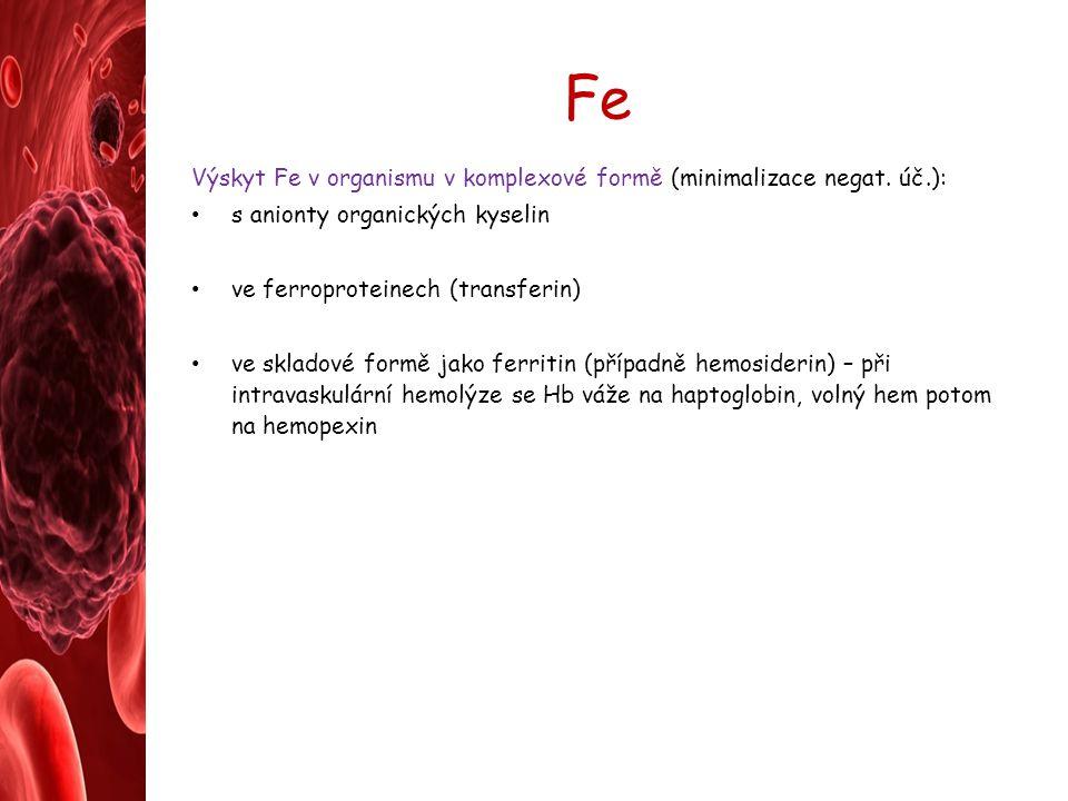 Fe Výskyt Fe v organismu v komplexové formě (minimalizace negat. úč.):