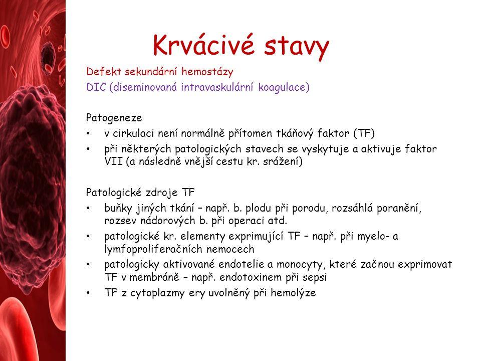 Krvácivé stavy Defekt sekundární hemostázy