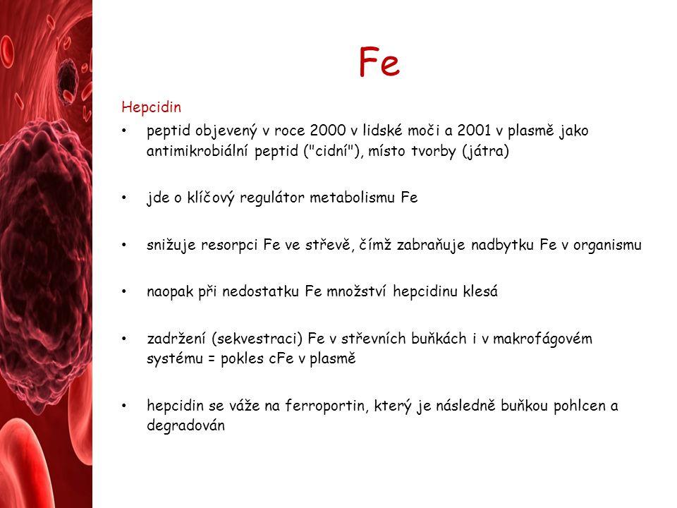 Fe Hepcidin. peptid objevený v roce 2000 v lidské moči a 2001 v plasmě jako antimikrobiální peptid ( cidní ), místo tvorby (játra)