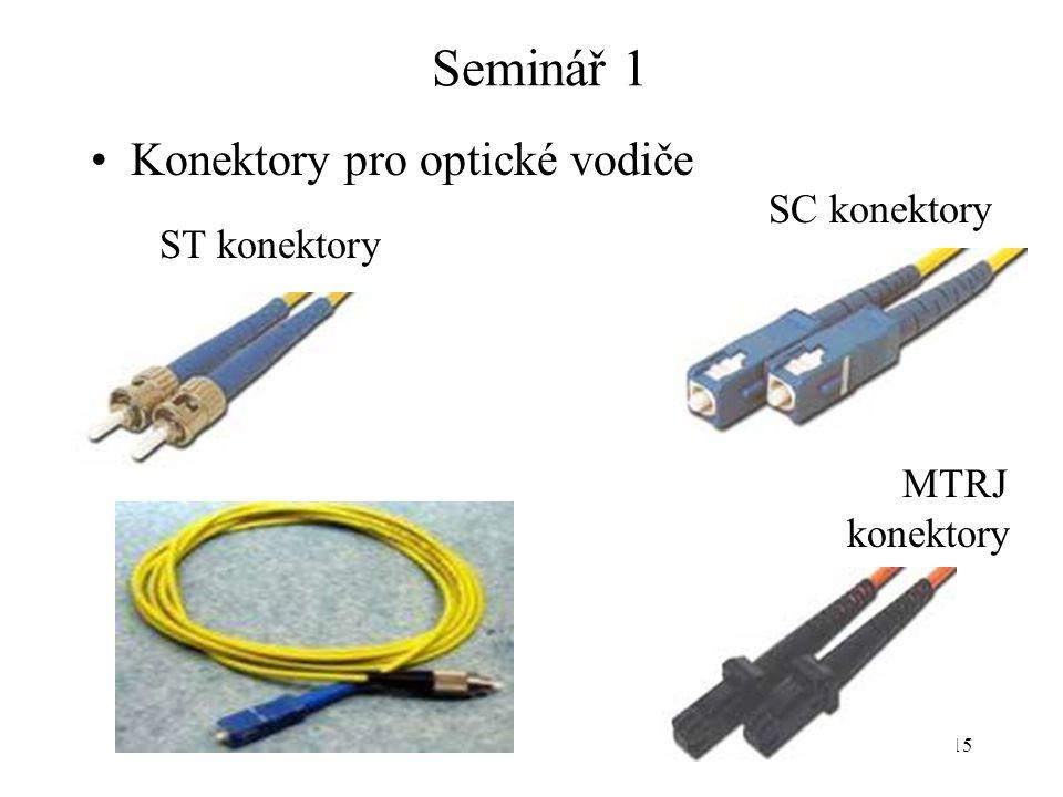 Seminář 1 Konektory pro optické vodiče SC konektory ST konektory