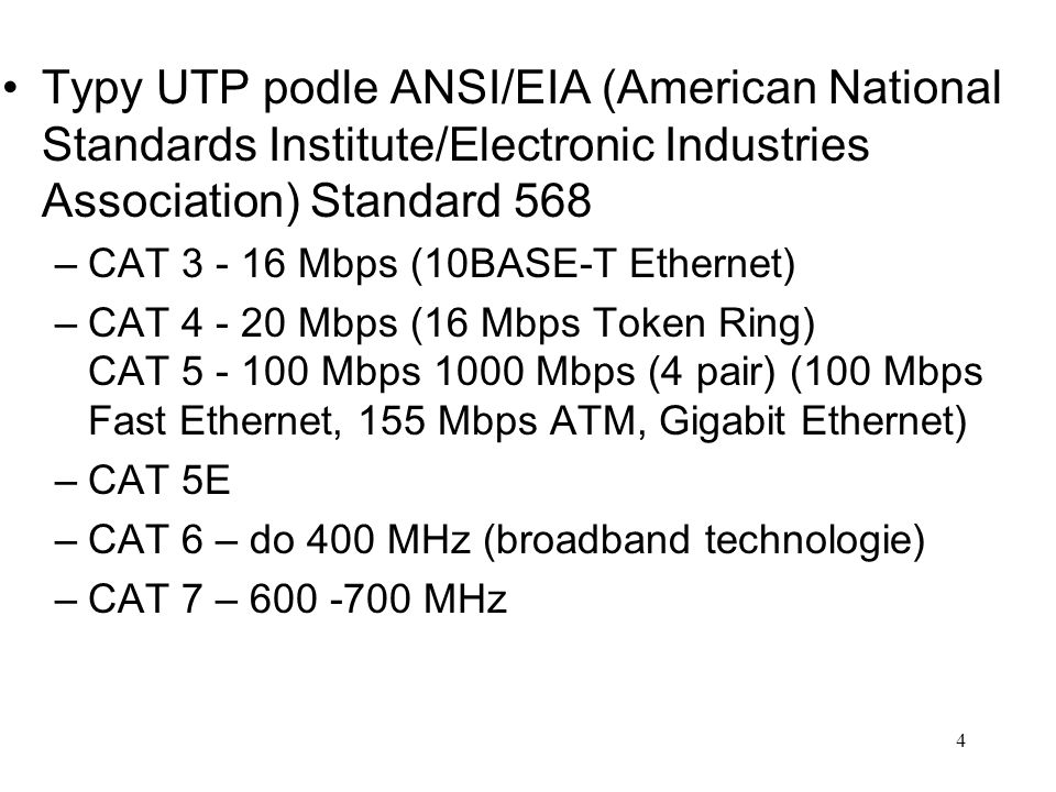 Typy UTP podle ANSI/EIA (American National Standards Institute/Electronic Industries Association) Standard 568