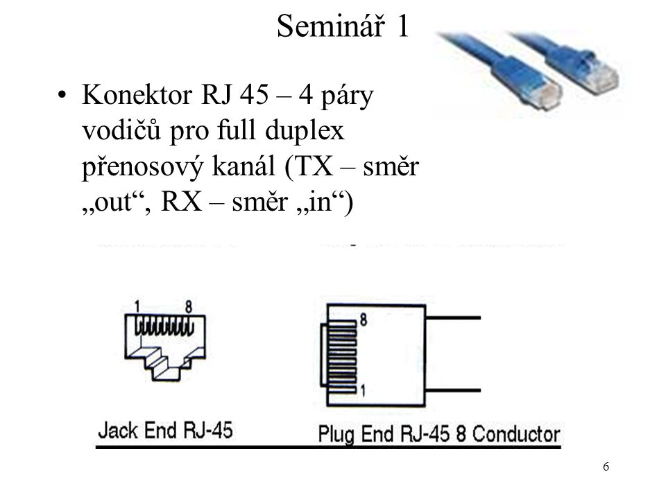 """Seminář 1 Konektor RJ 45 – 4 páry vodičů pro full duplex přenosový kanál (TX – směr """"out , RX – směr """"in )"""