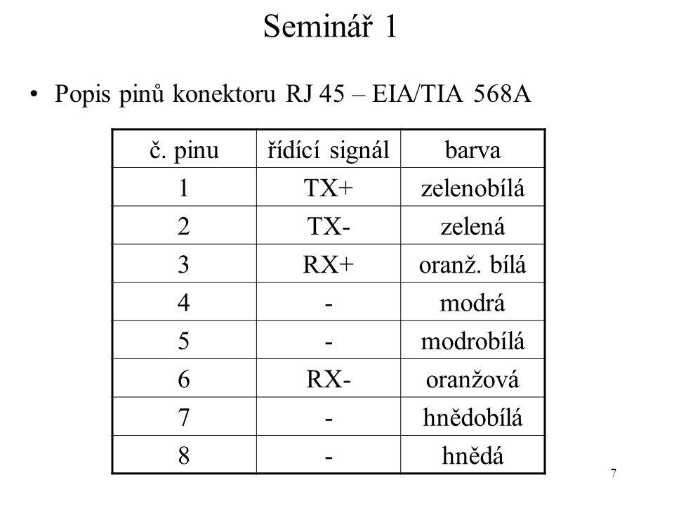 Seminář 1 Popis pinů konektoru RJ 45 – EIA/TIA 568A č. pinu