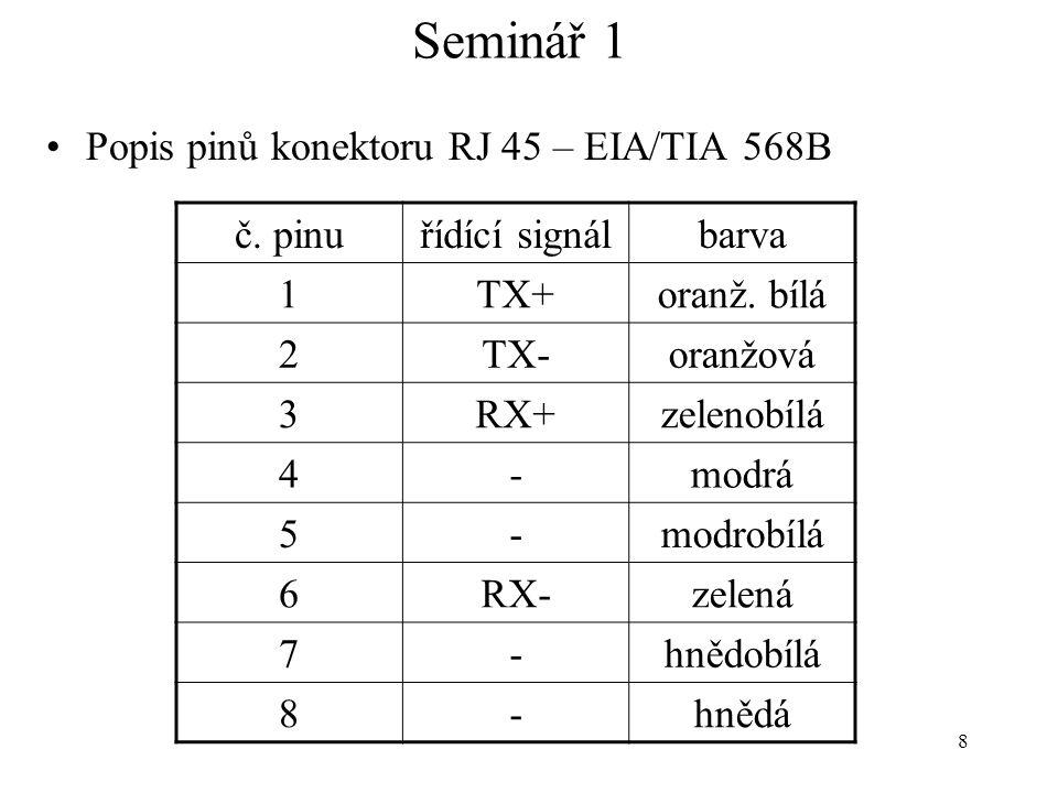 Seminář 1 Popis pinů konektoru RJ 45 – EIA/TIA 568B č. pinu