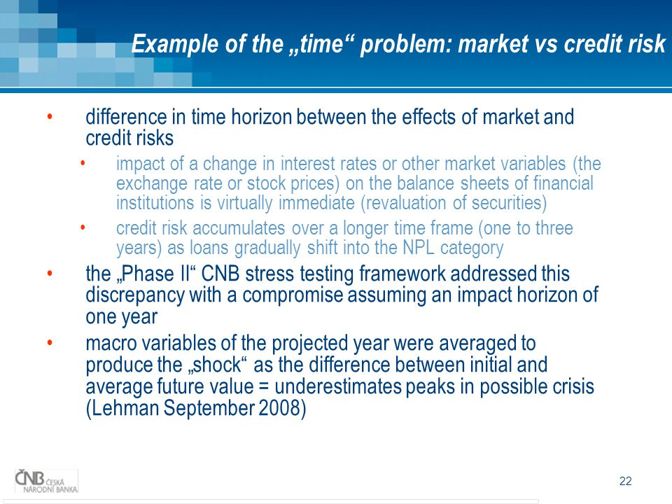 "Example of the ""time problem: market vs credit risk"