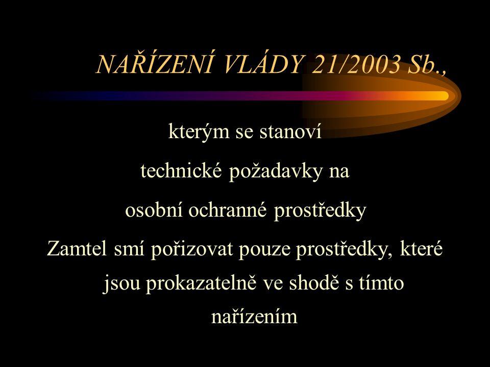 NAŘÍZENÍ VLÁDY 21/2003 Sb., kterým se stanoví technické požadavky na