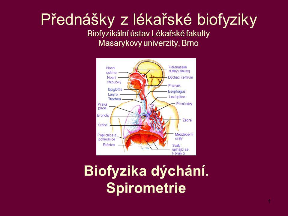 Biofyzika dýchání. Spirometrie