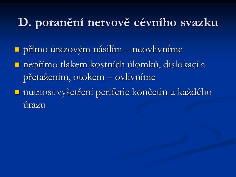 D. poranění nervově cévního svazku