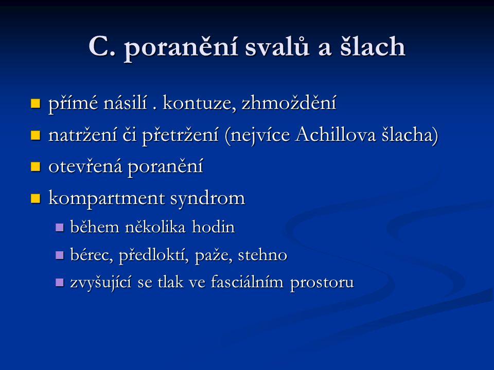C. poranění svalů a šlach