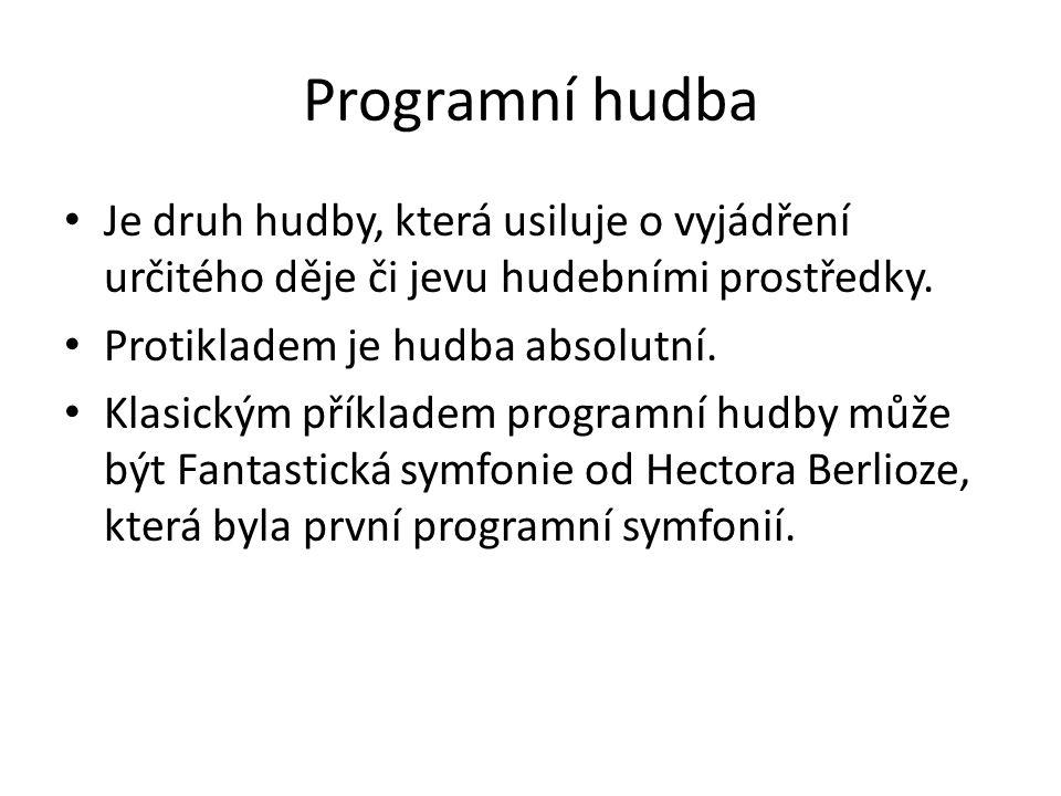 Programní hudba Je druh hudby, která usiluje o vyjádření určitého děje či jevu hudebními prostředky.