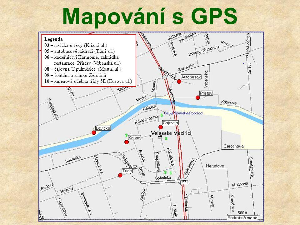Mapování s GPS Legenda 03 – lavička u řeky (Křižná ul.)