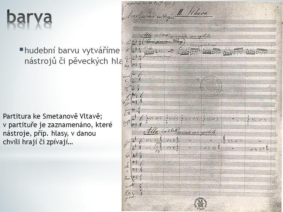 barva hudební barvu vytváříme a ovlivňujeme výběrem hudebních nástrojů či pěveckých hlasů (SATB) Partitura ke Smetanově Vltavě;